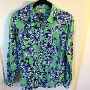 JCrew Size L Green, Blue, and White Flower Blouse